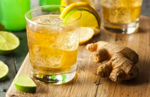 image of ginger root and ginger drink
